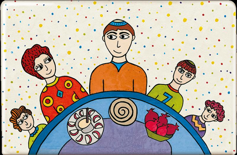 ceramic-magnets-handmade-tiles-jewish-art-rosh-hashanah-table
